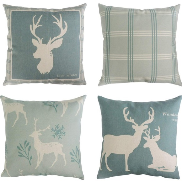 Miraculous Set Of 4 Pillow Covers Deer Green Snowflake Nwt Inzonedesignstudio Interior Chair Design Inzonedesignstudiocom